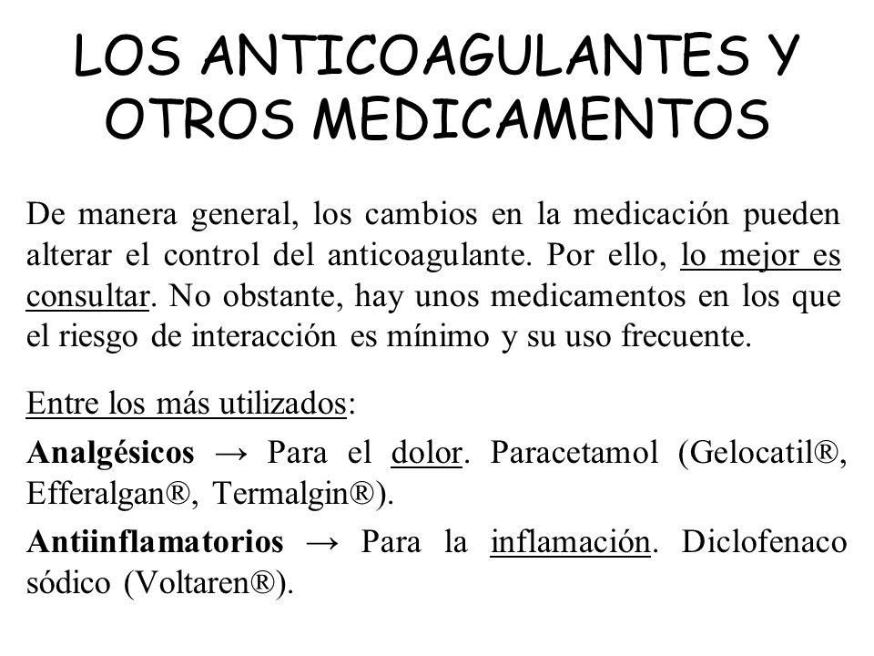 De manera general, los cambios en la medicación pueden alterar el control del anticoagulante. Por ello, lo mejor es consultar. No obstante, hay unos m