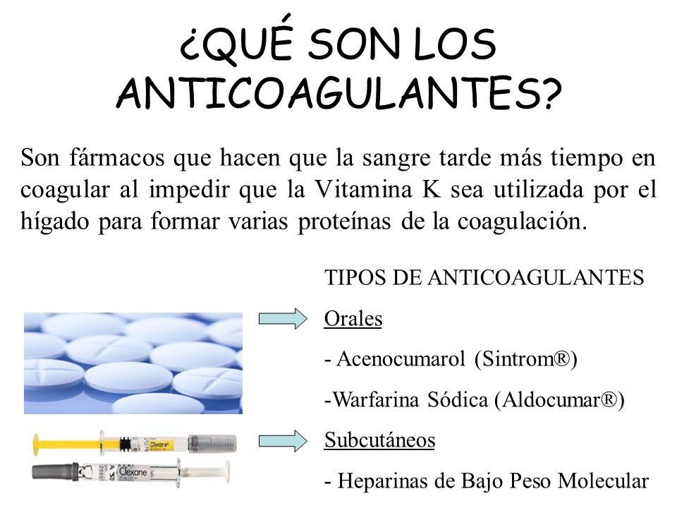 ¿QUÉ SON LOS ANTICOAGULANTES? Son fármacos que hacen que la sangre tarde más tiempo en coagular al impedir que la Vitamina K sea utilizada por el híga