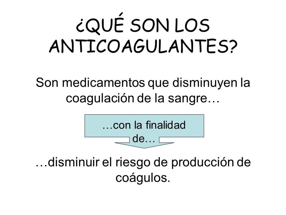 Son medicamentos que disminuyen la coagulación de la sangre… …disminuir el riesgo de producción de coágulos. ¿QUÉ SON LOS ANTICOAGULANTES? …con la fin