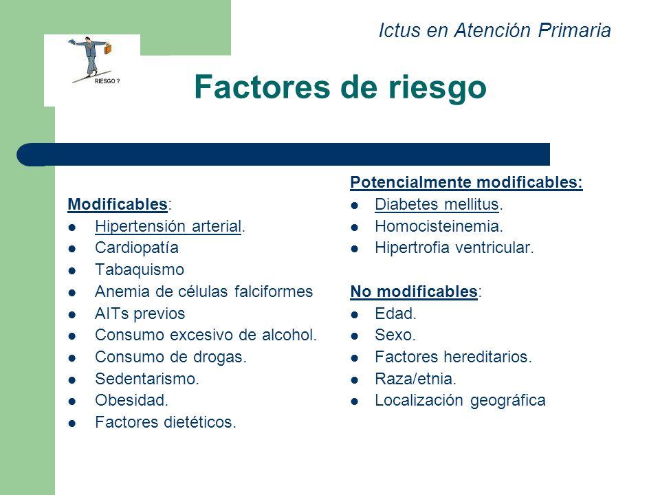 Factores de riesgo Modificables: Hipertensión arterial. Cardiopatía Tabaquismo Anemia de células falciformes AITs previos Consumo excesivo de alcohol.