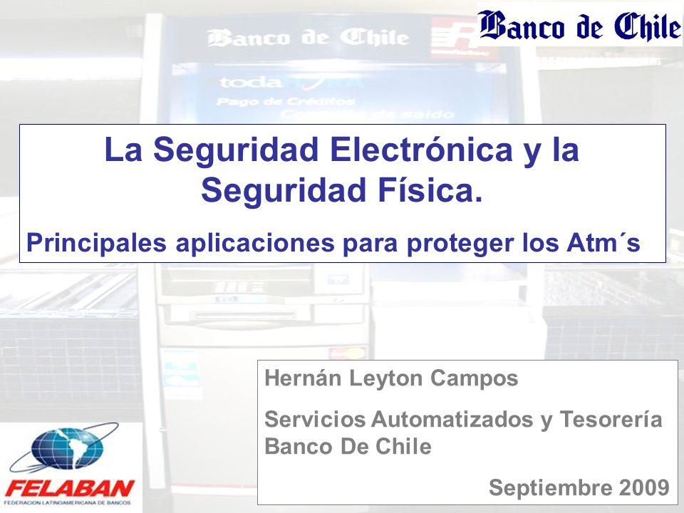 La Seguridad Electrónica y la Seguridad Física. Principales aplicaciones para proteger los Atm´s 2009 Hernán Leyton Campos Servicios Automatizados y T