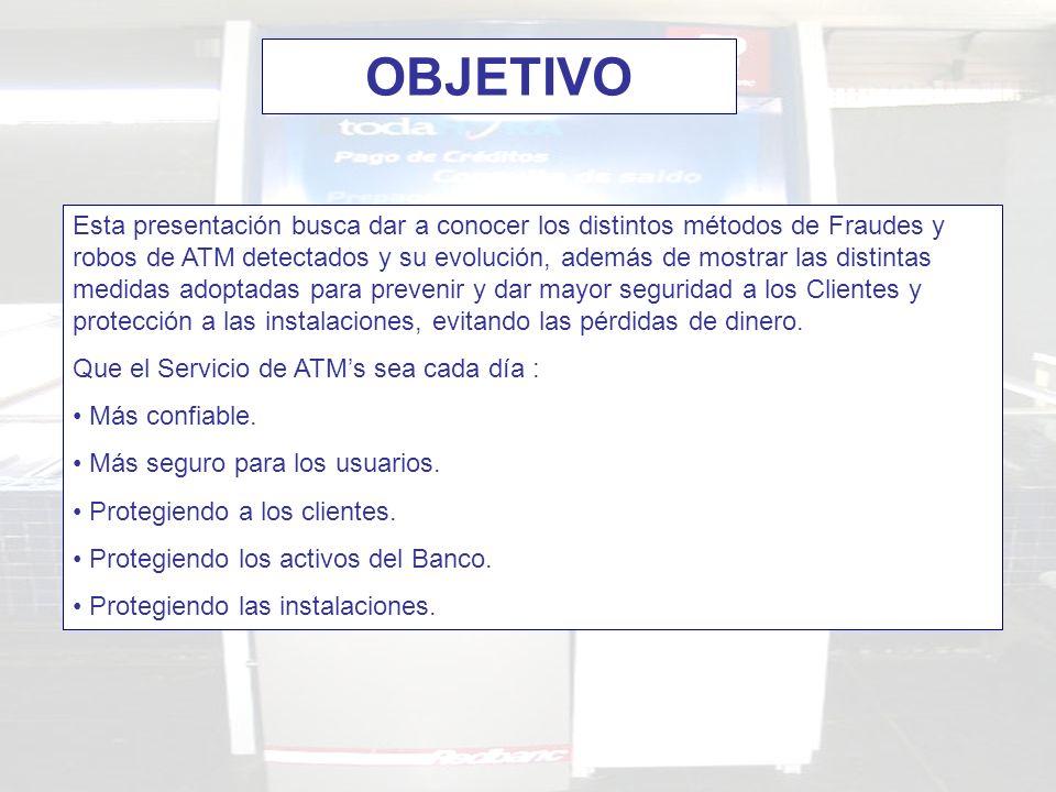 Esta presentación busca dar a conocer los distintos métodos de Fraudes y robos de ATM detectados y su evolución, además de mostrar las distintas medid