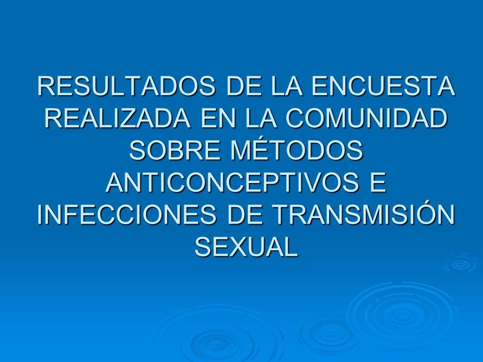 RESULTADOS DE LA ENCUESTA REALIZADA EN LA COMUNIDAD SOBRE MÉTODOS ANTICONCEPTIVOS E INFECCIONES DE TRANSMISIÓN SEXUAL