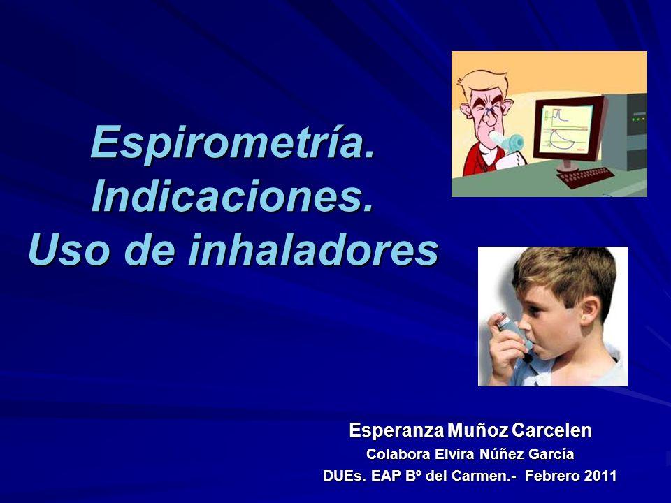 Espirometría. Indicaciones. Uso de inhaladores Esperanza Muñoz Carcelen Colabora Elvira Núñez García DUEs. EAP Bº del Carmen.- Febrero 2011