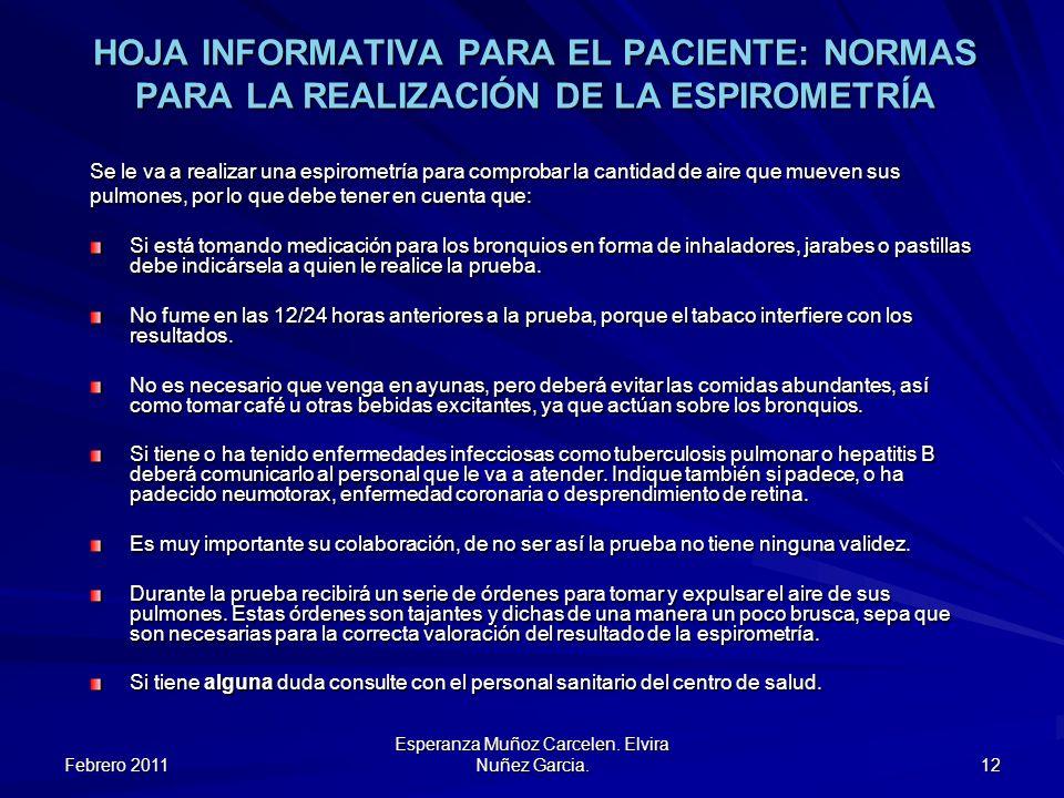 Febrero 2011 Esperanza Muñoz Carcelen. Elvira Nuñez Garcia. 12 HOJA INFORMATIVA PARA EL PACIENTE: NORMAS PARA LA REALIZACIÓN DE LA ESPIROMETRÍA Se le