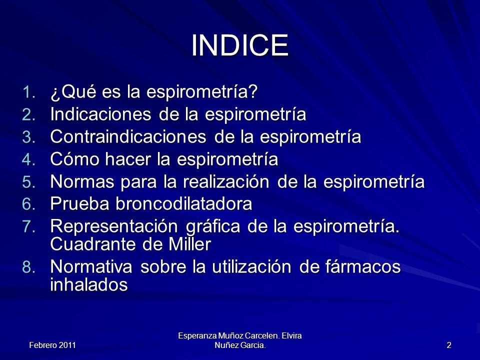 Febrero 2011 Esperanza Muñoz Carcelen. Elvira Nuñez Garcia. 2 INDICE 1. ¿Qué es la espirometría? 2. Indicaciones de la espirometría 3. Contraindicacio
