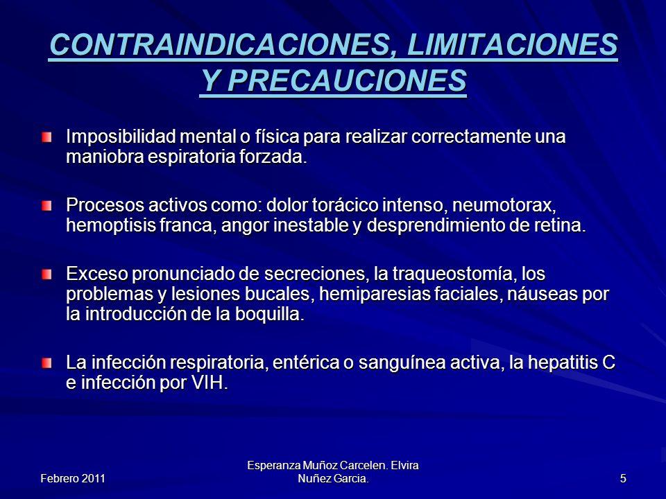Febrero 2011 Esperanza Muñoz Carcelen. Elvira Nuñez Garcia. 5 CONTRAINDICACIONES, LIMITACIONES Y PRECAUCIONES Imposibilidad mental o física para reali
