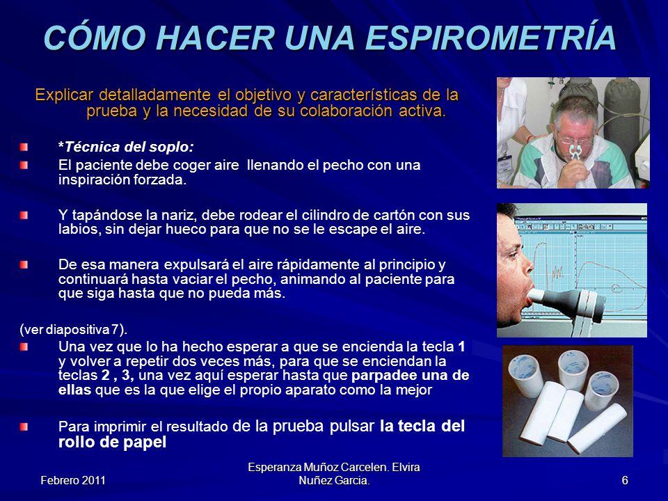 Febrero 2011 Esperanza Muñoz Carcelen. Elvira Nuñez Garcia. 6 CÓMO HACER UNA ESPIROMETRÍA Explicar detalladamente el objetivo y características de la