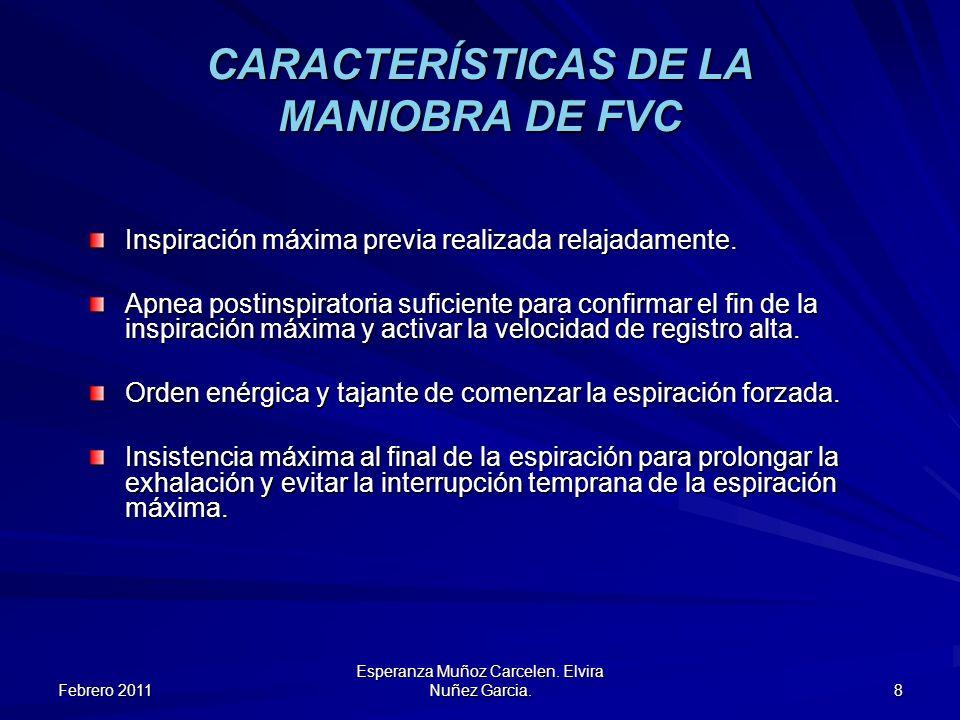 Febrero 2011 Esperanza Muñoz Carcelen. Elvira Nuñez Garcia. 8 CARACTERÍSTICAS DE LA MANIOBRA DE FVC Inspiración máxima previa realizada relajadamente.