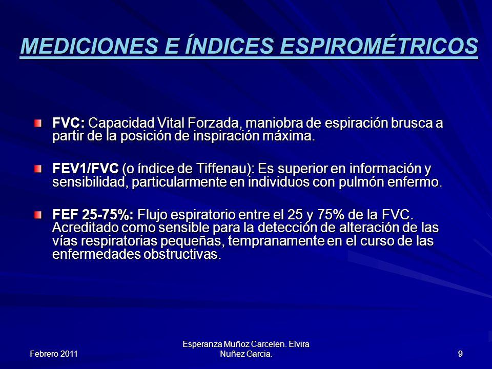 Febrero 2011 Esperanza Muñoz Carcelen. Elvira Nuñez Garcia. 9 MEDICIONES E ÍNDICES ESPIROMÉTRICOS FVC: Capacidad Vital Forzada, maniobra de espiración
