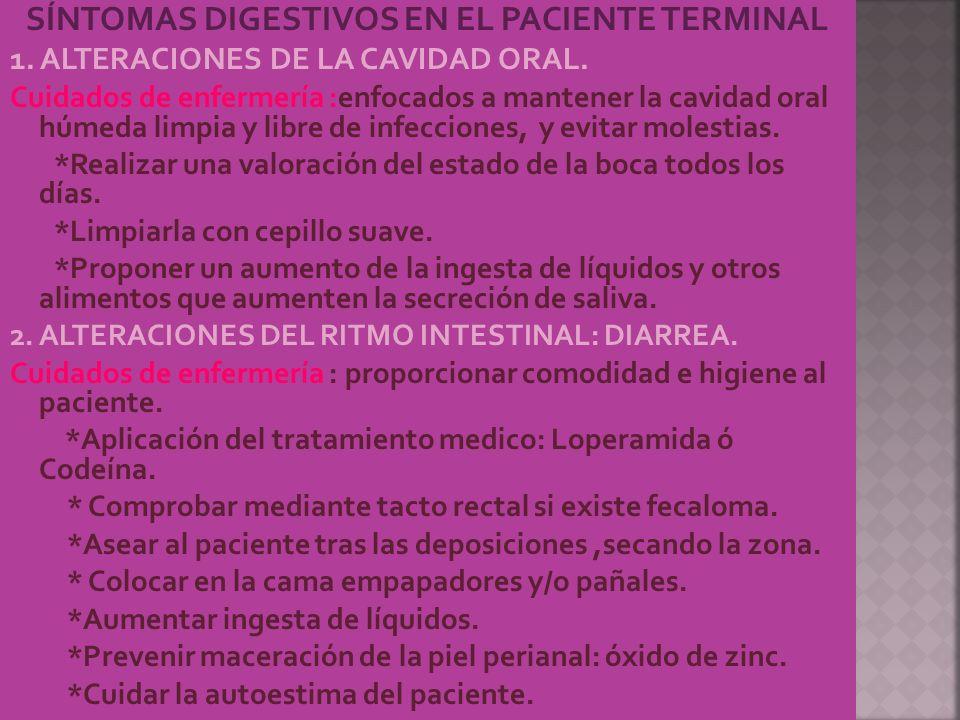 SÍNTOMAS DIGESTIVOS EN EL PACIENTE TERMINAL 1. ALTERACIONES DE LA CAVIDAD ORAL. Cuidados de enfermería :enfocados a mantener la cavidad oral húmeda li