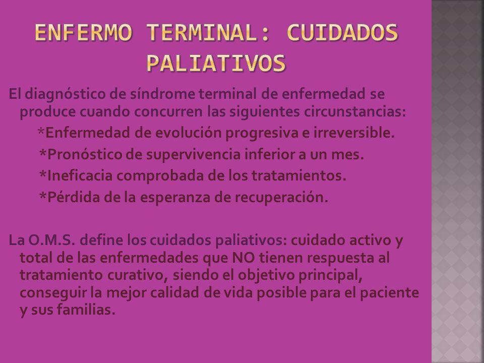 El diagnóstico de síndrome terminal de enfermedad se produce cuando concurren las siguientes circunstancias: *Enfermedad de evolución progresiva e irr