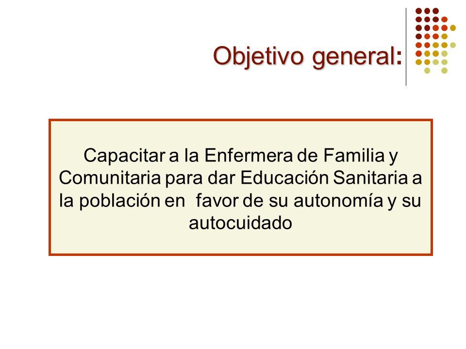 Objetivo general Objetivo general: Capacitar a la Enfermera de Familia y Comunitaria para dar Educación Sanitaria a la población en favor de su autono