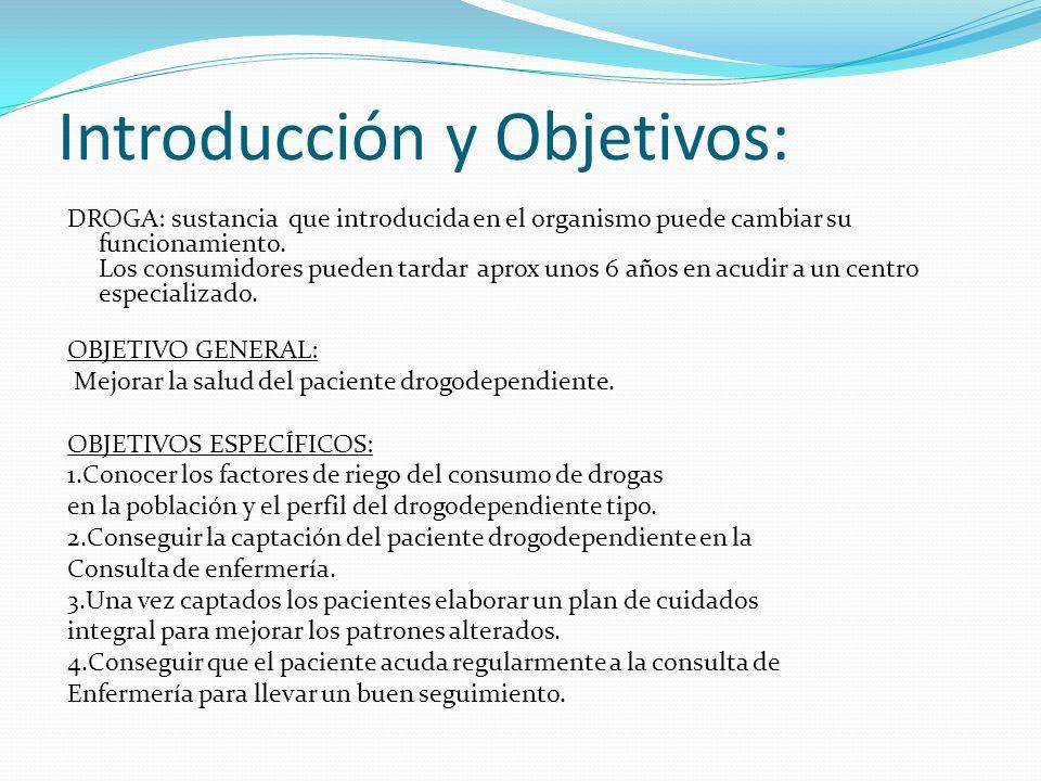 Introducción y Objetivos: DROGA: sustancia que introducida en el organismo puede cambiar su funcionamiento.