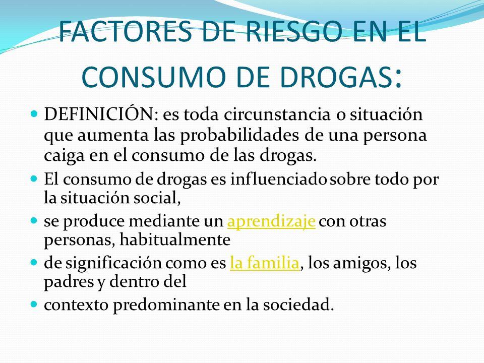 FACTORES DE RIESGO EN EL CONSUMO DE DROGAS : DEFINICIÓN: es toda circunstancia o situación que aumenta las probabilidades de una persona caiga en el consumo de las drogas.