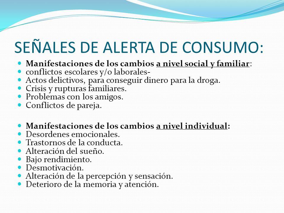 Tipos de consumidores: EXPERIMENTALES OCASIONALES HABITUAL DEPENDIENTE