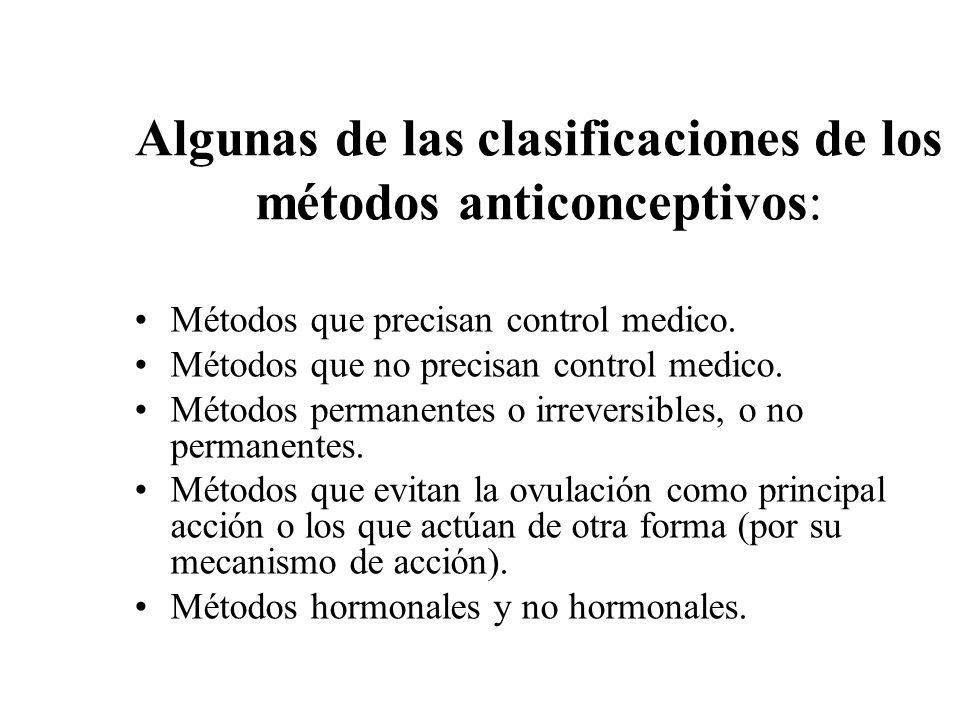 Algunas de las clasificaciones de los métodos anticonceptivos: Métodos que precisan control medico. Métodos que no precisan control medico. Métodos pe