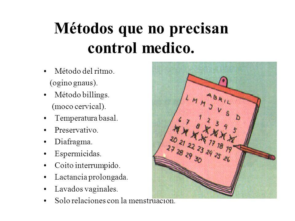 Métodos que no precisan control medico. Método del ritmo. (ogino gnaus). Método billings. (moco cervical). Temperatura basal. Preservativo. Diafragma.