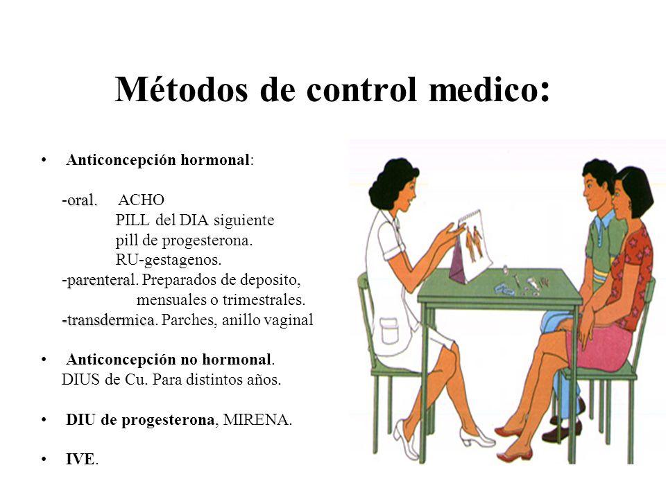 Métodos de control medico : Anticoncepción hormonal: oral. -oral. ACHO PILL del DIA siguiente pill de progesterona. RU-gestagenos. parentera -parenter