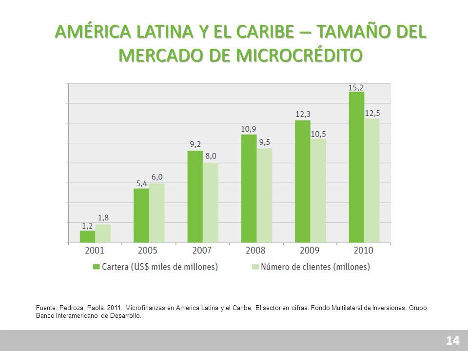 14 AMÉRICA LATINA Y EL CARIBE – TAMAÑO DEL MERCADO DE MICROCRÉDITO Fuente: Pedroza, Paola. 2011. Microfinanzas en América Latina y el Caribe: El secto