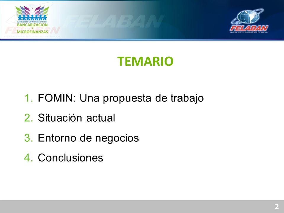 2 1. FOMIN: Una propuesta de trabajo 2. Situación actual 3. Entorno de negocios 4. Conclusiones TEMARIO