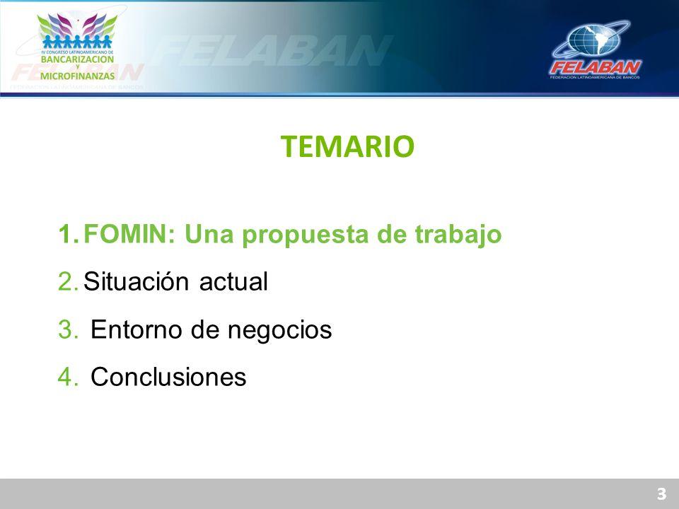 3 1.FOMIN: Una propuesta de trabajo 2.Situación actual 3. Entorno de negocios 4. Conclusiones TEMARIO