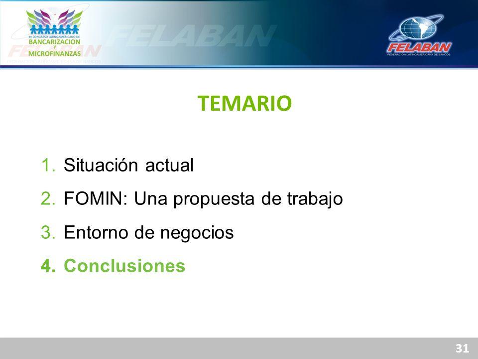 31 1. Situación actual 2. FOMIN: Una propuesta de trabajo 3. Entorno de negocios 4. Conclusiones TEMARIO