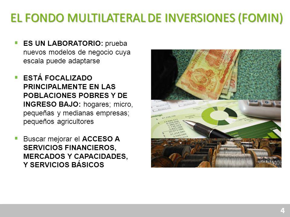 4 Financiamiento Responsable Protección al Consumidor Gobierno Corporativo Transparencia Canales Productos EL FONDO MULTILATERAL DE INVERSIONES (FOMIN