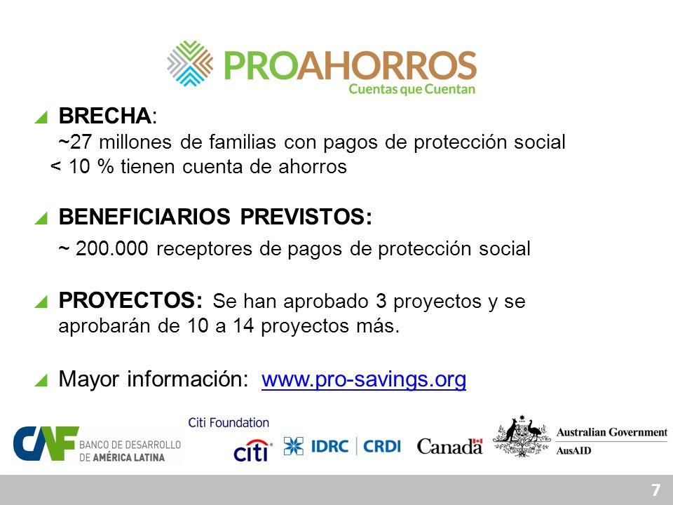 7 BRECHA: ~27 millones de familias con pagos de protección social < 10 % tienen cuenta de ahorros BENEFICIARIOS PREVISTOS: ~ 200.000 receptores de pag