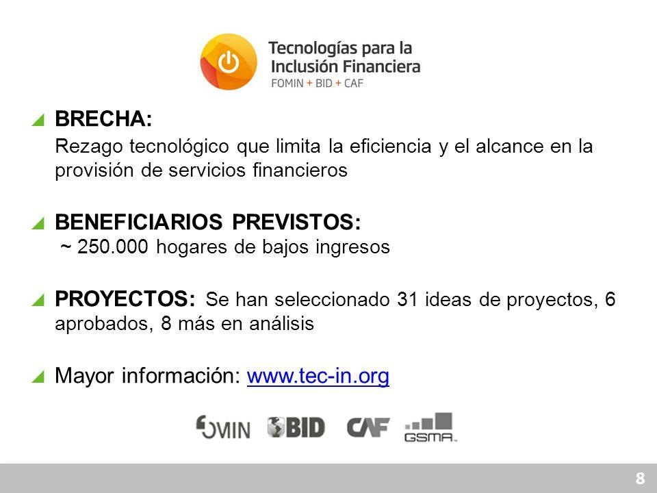 8 BRECHA: Rezago tecnológico que limita la eficiencia y el alcance en la provisión de servicios financieros BENEFICIARIOS PREVISTOS: ~ 250.000 hogares