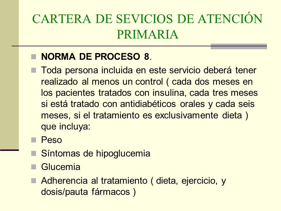 CARTERA DE SEVICIOS DE ATENCIÓN PRIMARIA NORMA DE PROCESO 8. Toda persona incluida en este servicio deberá tener realizado al menos un control ( cada