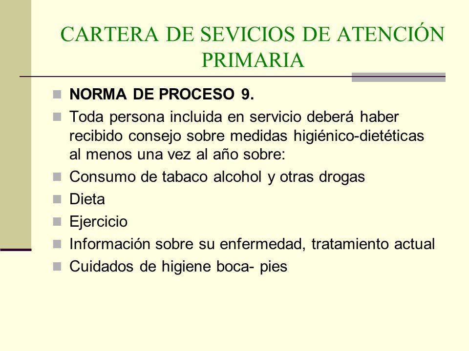 CARTERA DE SEVICIOS DE ATENCIÓN PRIMARIA NORMA DE PROCESO 9. Toda persona incluida en servicio deberá haber recibido consejo sobre medidas higiénico-d