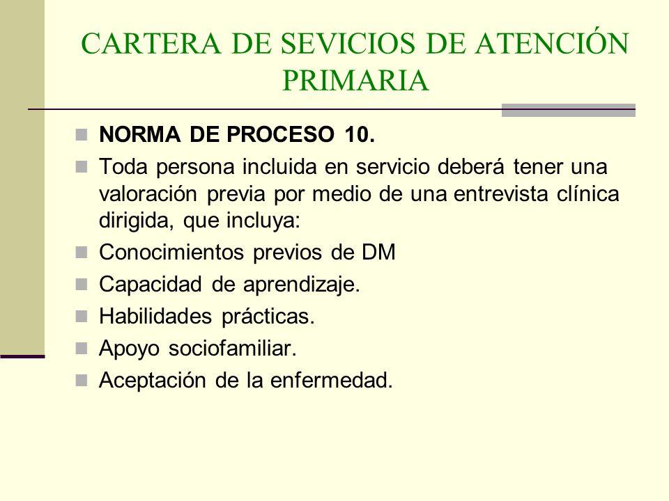 CARTERA DE SEVICIOS DE ATENCIÓN PRIMARIA NORMA DE PROCESO 10. Toda persona incluida en servicio deberá tener una valoración previa por medio de una en
