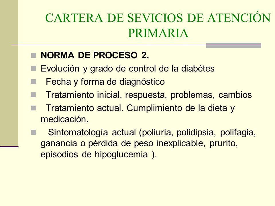 CARTERA DE SEVICIOS DE ATENCIÓN PRIMARIA NORMA DE PROCESO 2. Evolución y grado de control de la diabétes Fecha y forma de diagnóstico Tratamiento inic