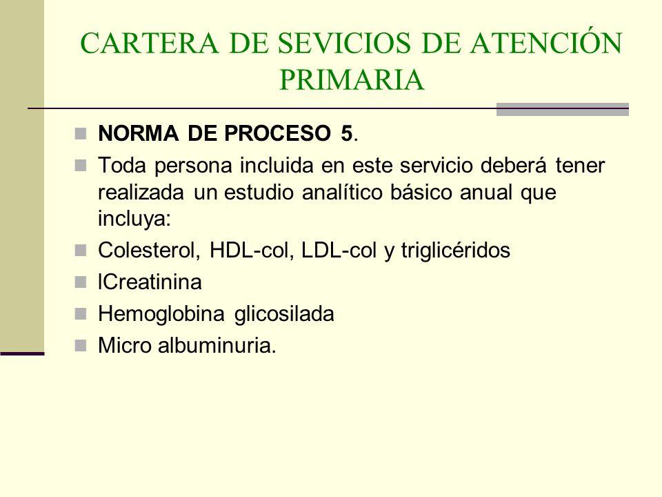 CARTERA DE SEVICIOS DE ATENCIÓN PRIMARIA NORMA DE PROCESO 5. Toda persona incluida en este servicio deberá tener realizada un estudio analítico básico