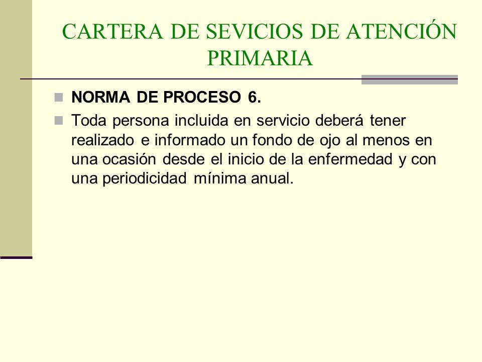 CARTERA DE SEVICIOS DE ATENCIÓN PRIMARIA NORMA DE PROCESO 6. Toda persona incluida en servicio deberá tener realizado e informado un fondo de ojo al m