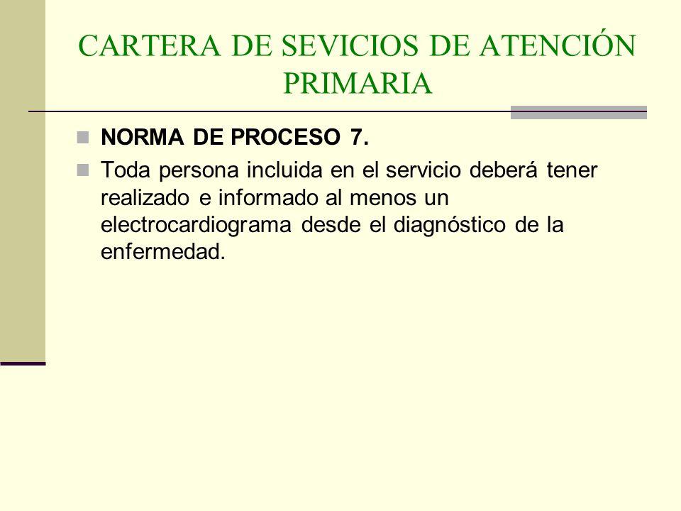 CARTERA DE SEVICIOS DE ATENCIÓN PRIMARIA NORMA DE PROCESO 7. Toda persona incluida en el servicio deberá tener realizado e informado al menos un elect
