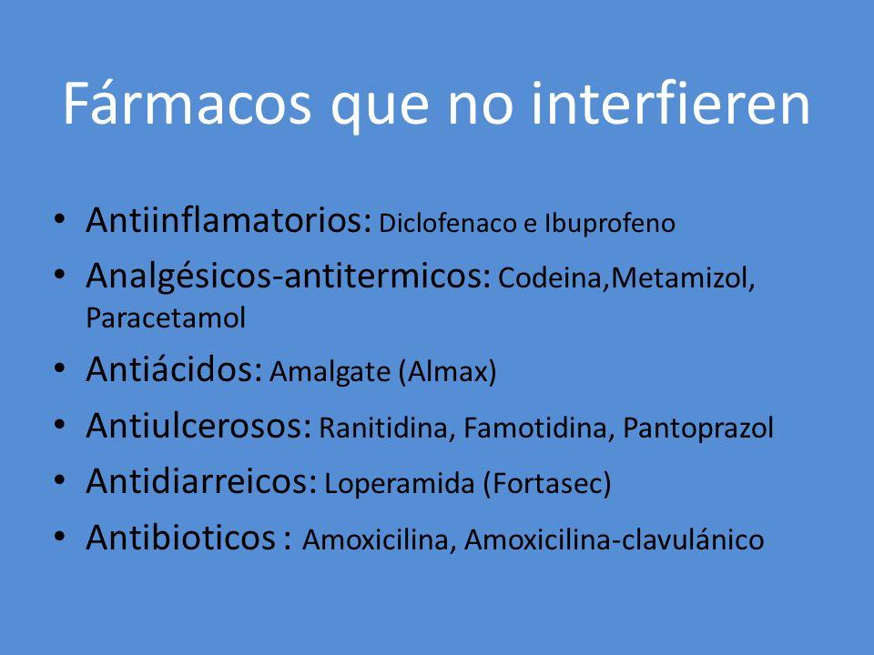 Fármacos que no interfieren Antiinflamatorios: Diclofenaco e Ibuprofeno Analgésicos-antitermicos: Codeina,Metamizol, Paracetamol Antiácidos: Amalgate
