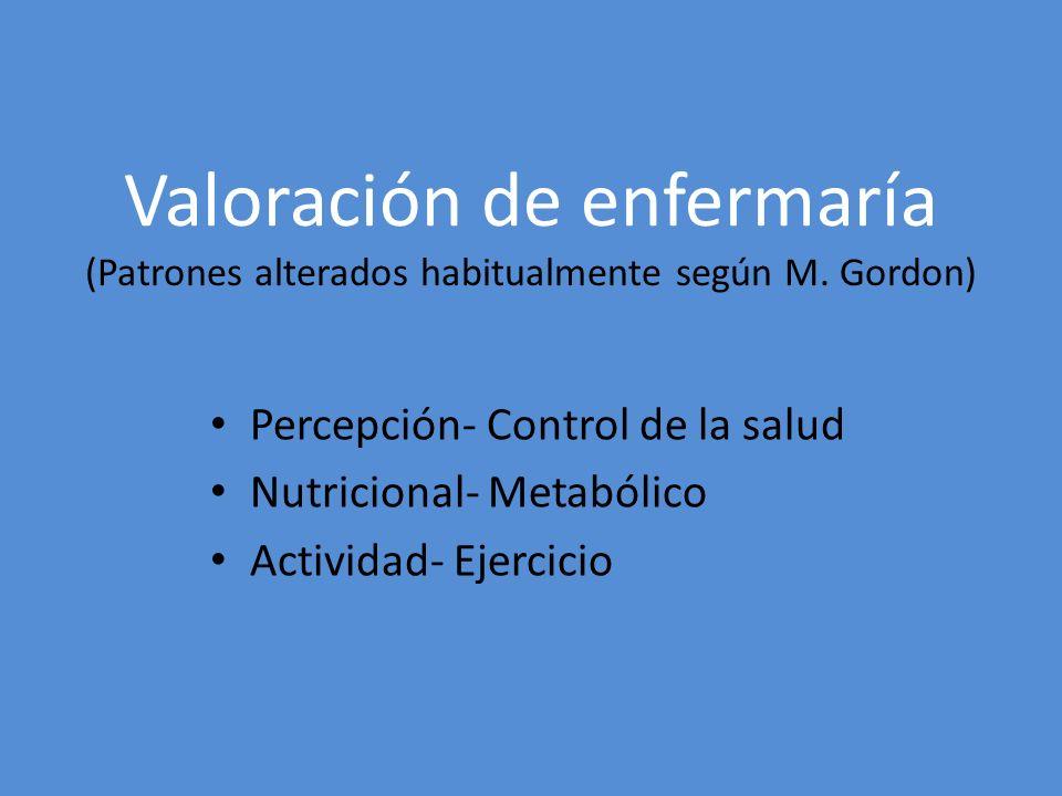 Valoración de enfermaría (Patrones alterados habitualmente según M. Gordon) Percepción- Control de la salud Nutricional- Metabólico Actividad- Ejercic