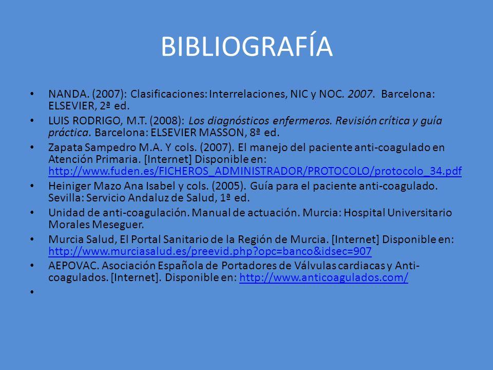 BIBLIOGRAFÍA NANDA. (2007): Clasificaciones: Interrelaciones, NIC y NOC. 2007. Barcelona: ELSEVIER, 2ª ed. LUIS RODRIGO, M.T. (2008): Los diagnósticos