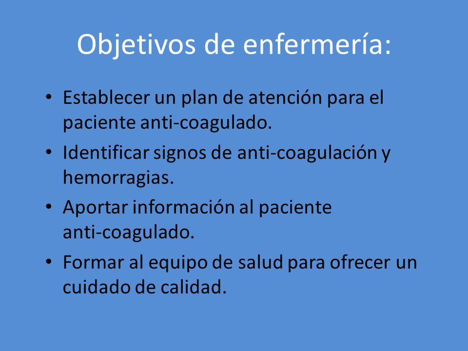 Objetivos de enfermería: Establecer un plan de atención para el paciente anti-coagulado. Identificar signos de anti-coagulación y hemorragias. Aportar