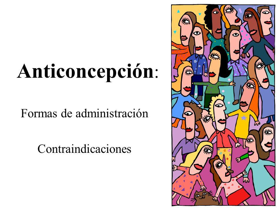 Anticoncepción : Formas de administración Contraindicaciones
