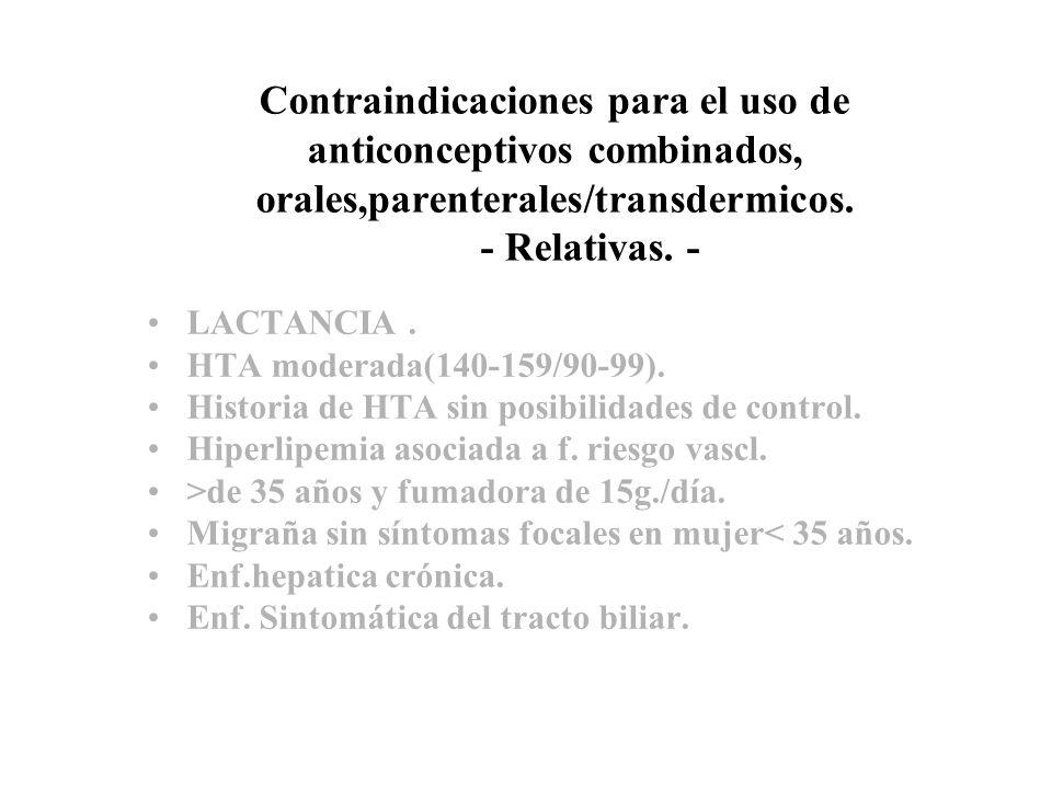 Contraindicaciones para el uso de anticonceptivos combinados, orales,parenterales/transdermicos. - Relativas. - LACTANCIA. HTA moderada(140-159/90-99)