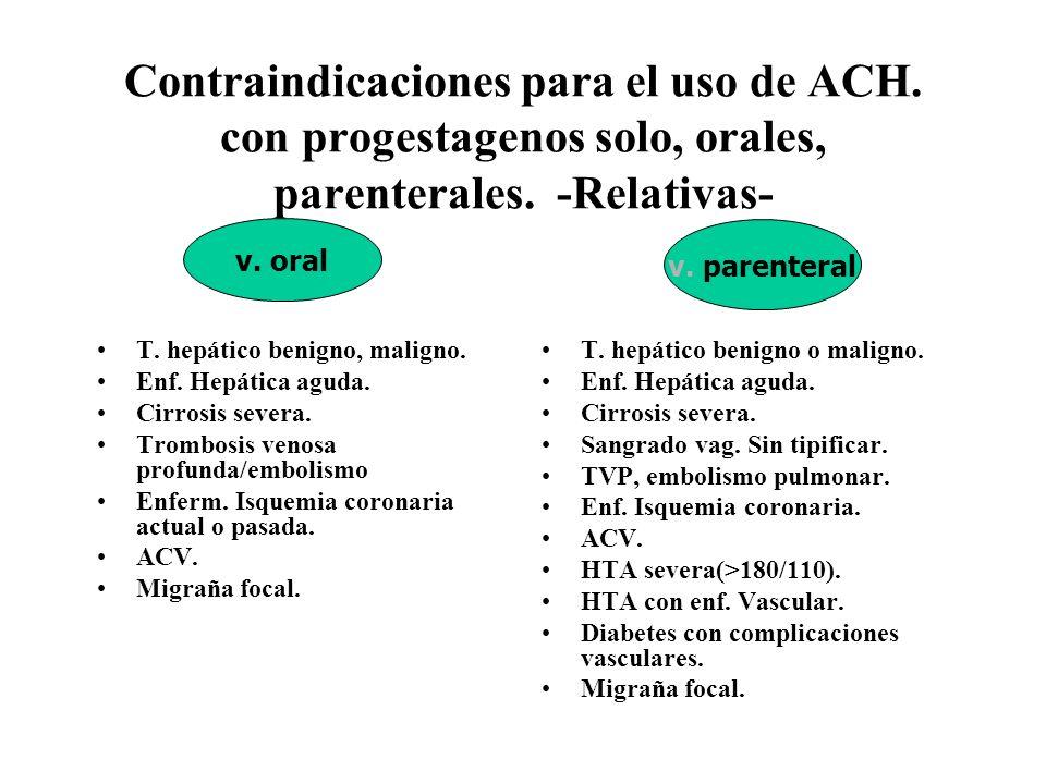Contraindicaciones para el uso de ACH. con progestagenos solo, orales, parenterales. -Relativas- T. hepático benigno, maligno. Enf. Hepática aguda. Ci