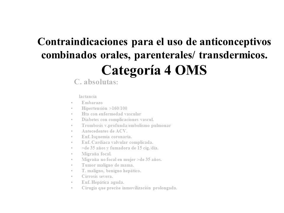 Contraindicaciones para el uso de anticonceptivos combinados orales, parenterales/ transdermicos. Categoría 4 OMS C. absolutas : lactancia Embarazo Hi