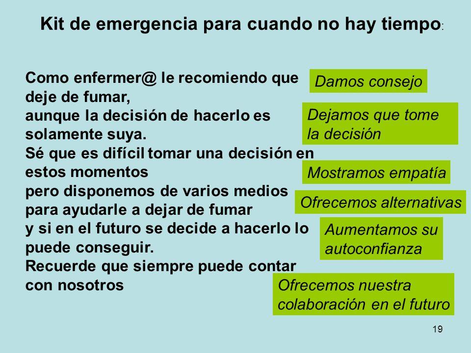 19 Kit de emergencia para cuando no hay tiempo : Como enfermer@ le recomiendo que deje de fumar, aunque la decisión de hacerlo es solamente suya.