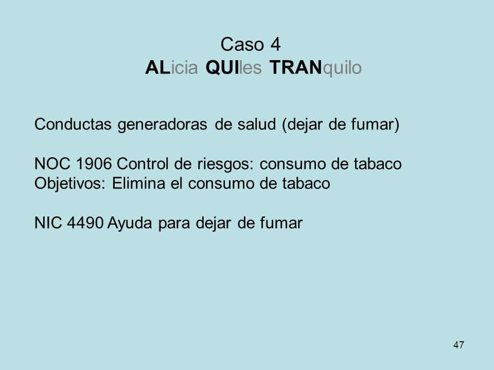 47 Caso 4 ALicia QUIles TRANquilo Conductas generadoras de salud (dejar de fumar) NOC 1906 Control de riesgos: consumo de tabaco Objetivos: Elimina el