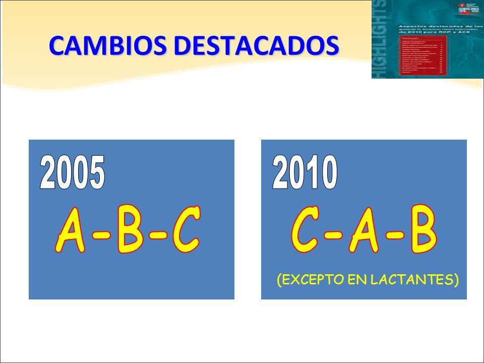 CAMBIOS DESTACADOS (EXCEPTO EN LACTANTES)