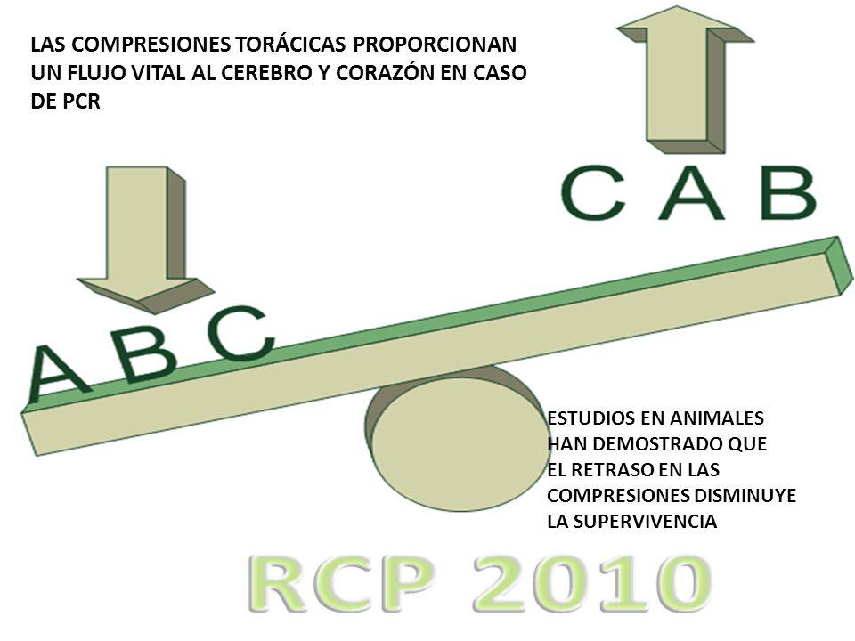 LAS COMPRESIONES TORÁCICAS PROPORCIONAN UN FLUJO VITAL AL CEREBRO Y CORAZÓN EN CASO DE PCR ESTUDIOS EN ANIMALES HAN DEMOSTRADO QUE EL RETRASO EN LAS C