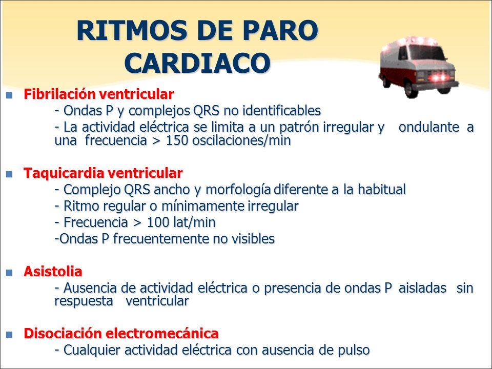RITMOS DE PARO CARDIACO Fibrilación ventricular Fibrilación ventricular - Ondas P y complejos QRS no identificables - La actividad eléctrica se limita